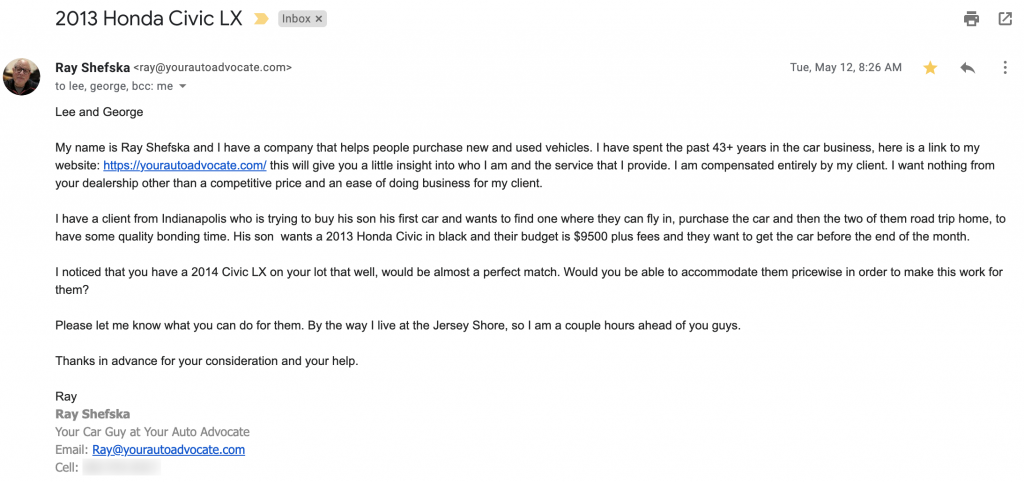 negotiating a used car via email template