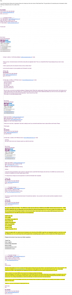 email thread from negotiating a car deal