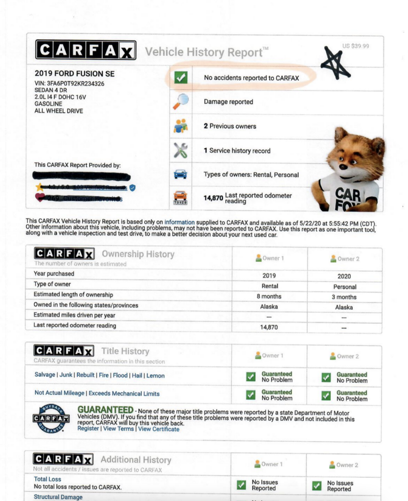 carfax report with damage