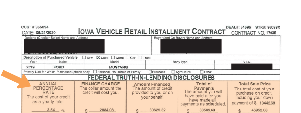 vehicle purchase agreement federal truth in lending disclosure