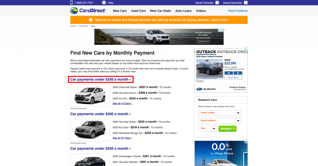 CarsDirect research by monthly payment